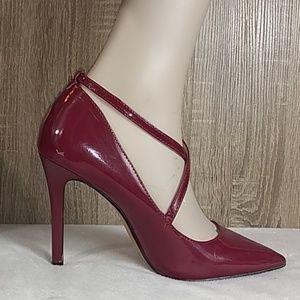 Jessica Simpson pointy stiletto heels maroon gold